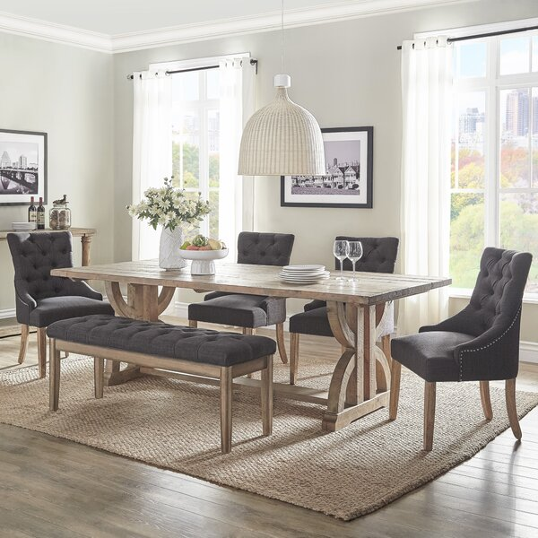 Adrik Salvaged Reclaimed Pine Wood 6 Piece Dining Set (Set of 6) by Birch Lane™ Heritage
