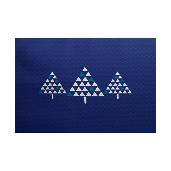 Christmass Tree Blue Indoor/Outdoor Area Rug by The Holiday Aisle