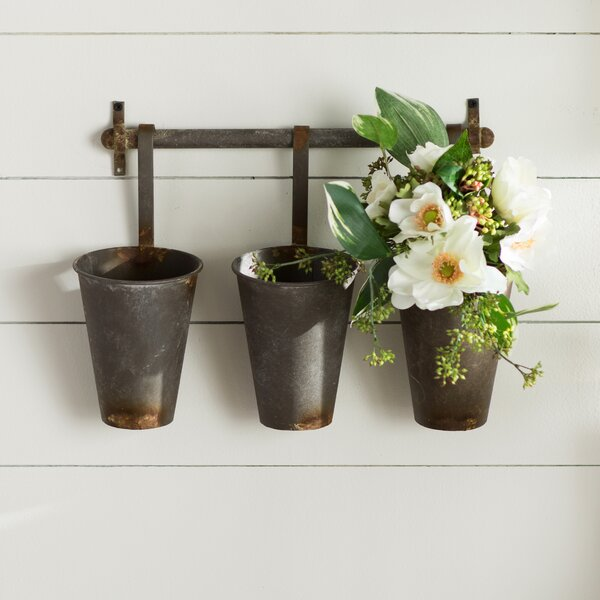 Farm Metal Wall Rack and 3 Tin Pot with Hanger Wall Decor by Laurel Foundry Modern Farmhouse