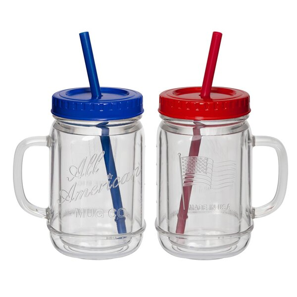 Grover All American 20 oz. Plastic Mason Jar (Set of 2) by Winston Porter