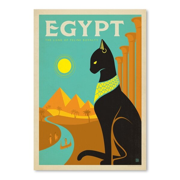 Cat Egypt Cat Vintage Advertisement by East Urban Home
