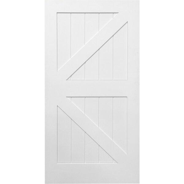 Stile/Rail K Planked Manufactured Wood 4 Panel White Interior Barn Door by Verona Home Design