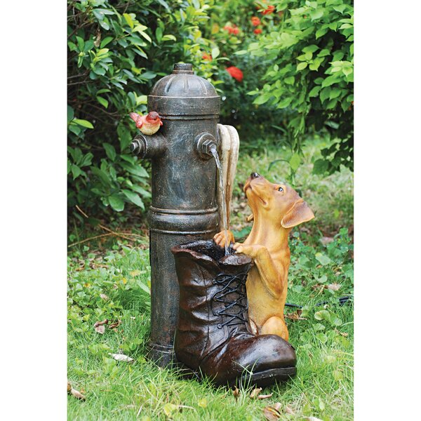 Fire Hydrant Pooch Sculptural Fountain with LED Light by Wildon Home ®