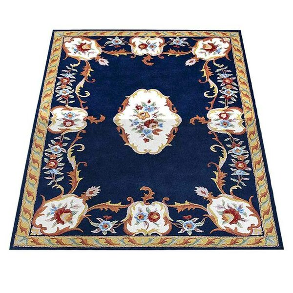 Knecht Oriental Hand-Tufted Wool Navy/Beige Area Rug by Alcott Hill