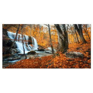 'Autumn Mountain Waterfall Close View' Photographic Print on Wrapped Canvas by Design Art