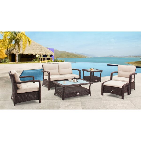 Farrar 6 Piece Rattan Sofa Seating Group with Cushions by Darby Home Co