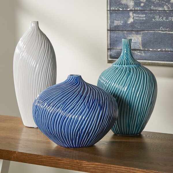 Whitmore 3 Piece Vase Set by Rosecliff Heights