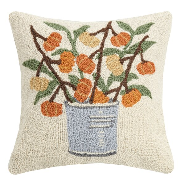 Murchison Pumpkin Branches Wool Throw Pillow by August Grove