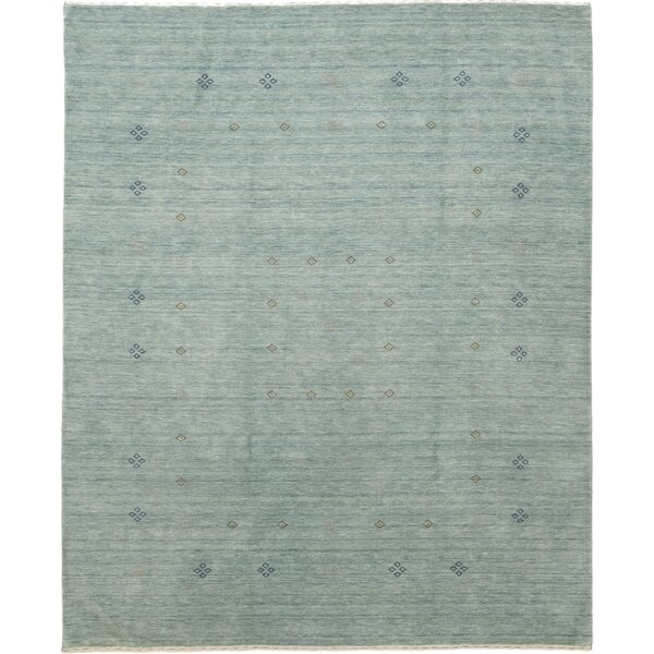 One-of-a-Kind Matahpi Hand-Knotted Wool Blue Indoor Area Rug by Bungalow Rose