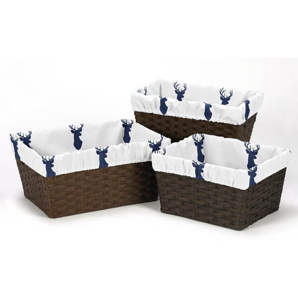 Woodland Deer 3 Piece Basket Liner Set by Sweet Jojo Designs