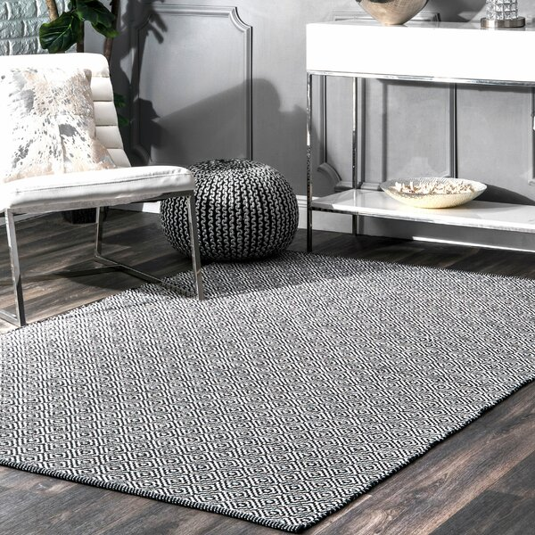 Malbrough Hand-Woven Black Area Rug by Mercury Row