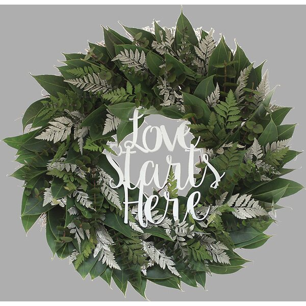 Garden Wedding Love Starts Here 18 Natural Leaves Wreath by Floral Treasure