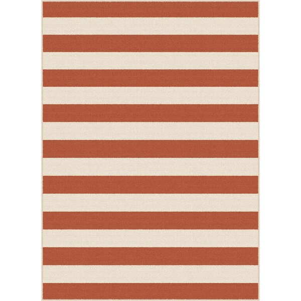 Martinique Terracotta/Beige Area Rug by Breakwater Bay