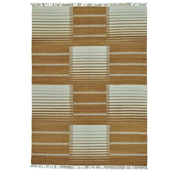 Flat Weave Durie Kilim Oriental Hand-Knotted Brown Area Rug by Millwood Pines