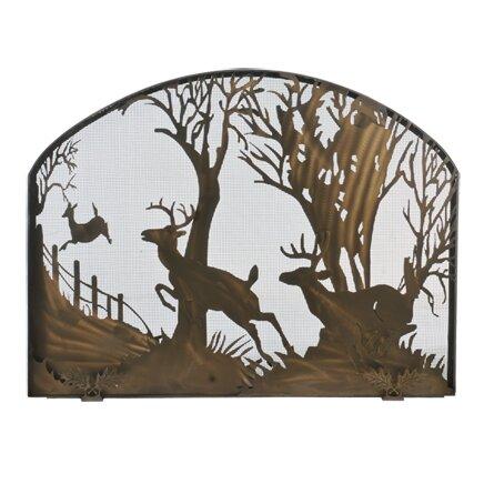 Deer On The Loose Single Panel Fireplace Screen By Meyda Tiffany