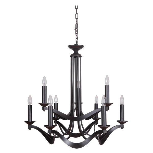 9-Light Candle Style Tiered Chandelier by Rainbow Lighting Rainbow Lighting