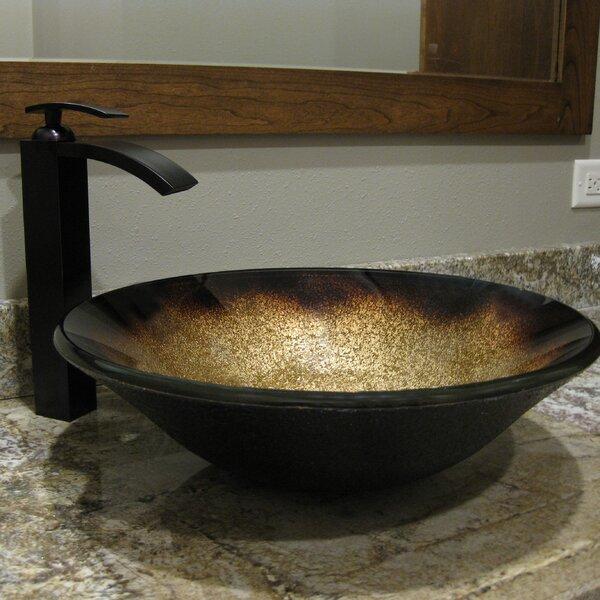 Sanguinello Glass Circular Vessel Bathroom Sink by Novatto