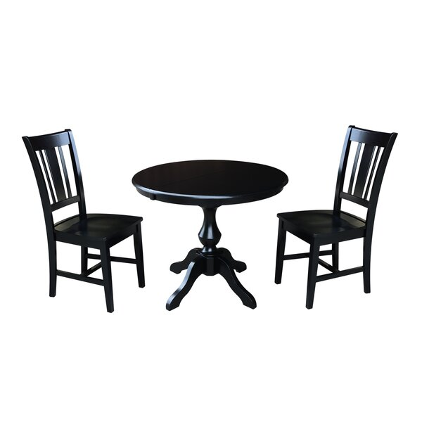 Sylvester 3 Piece Extendable Solid Wood Dining Set by Alcott Hill
