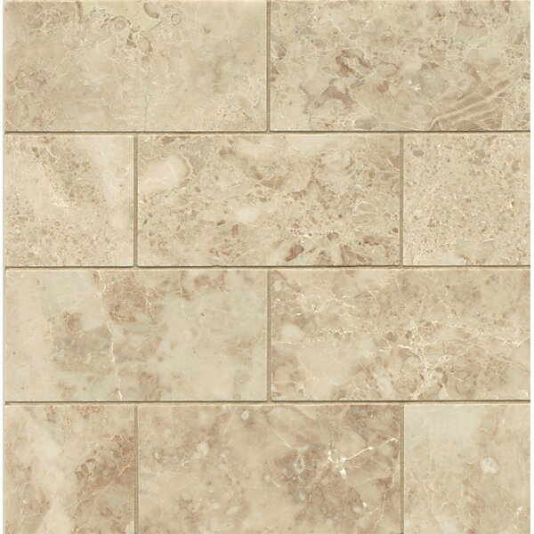3 x 6 Honed Marble Mosaic Tile in Cappuccino by Grayson Martin
