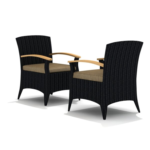 Holbrook Teak Patio Dining Chair with Cushion (Set of 2) by Rosecliff Heights