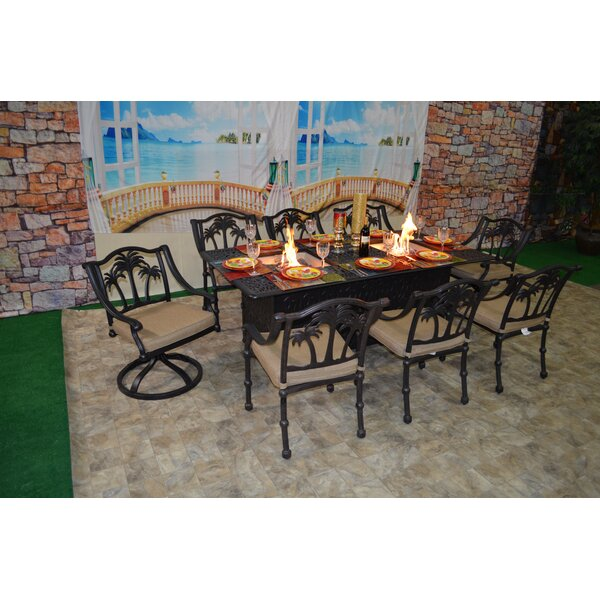 Keefe Tree 9 Piece Sunbrella Dining Set with Cushions by Bayou Breeze