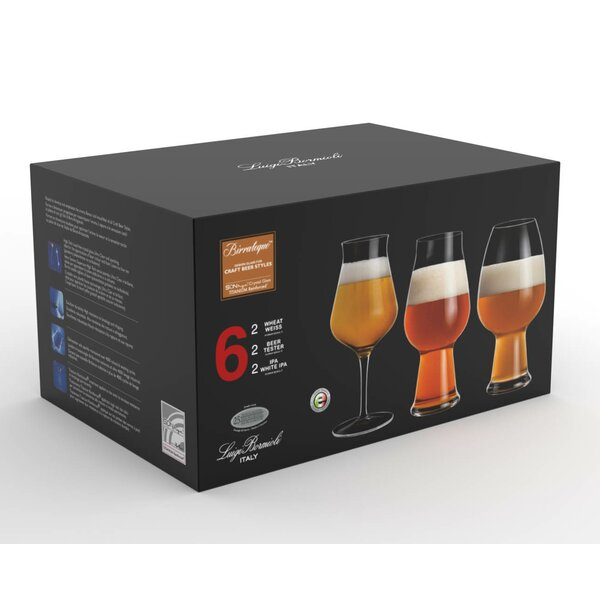 Birrateque 6 Piece Beer Glass Set by Luigi Bormioli