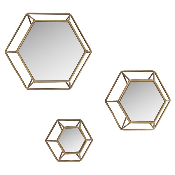 Yahoue 3 Piece Hexagonal Wall Mirror Set by Mistana