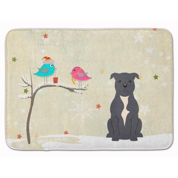 Silloth Christmas Bull Terrier Rectangle Microfiber Non-Slip Bath Rug