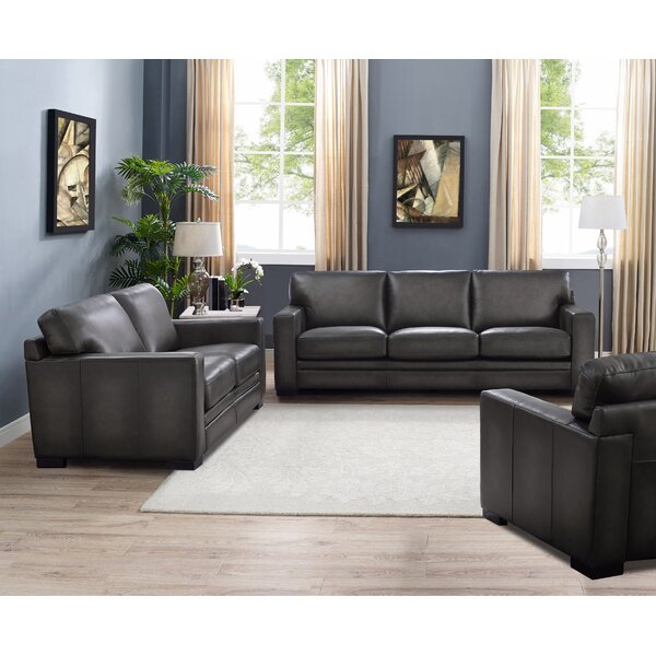 Drakeford 3 Piece Leather Living Room Set by Brayden Studio