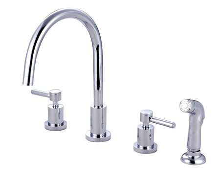 Concord Double Handle Widespread Kitchen Faucet with Non-Metallic Sprayer by Kingston Brass