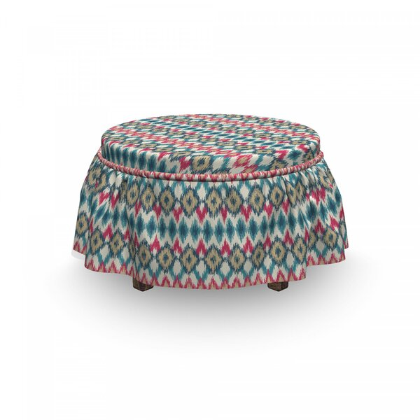 Ikat Mexican Native 2 Piece Box Cushion Ottoman Slipcover Set By East Urban Home