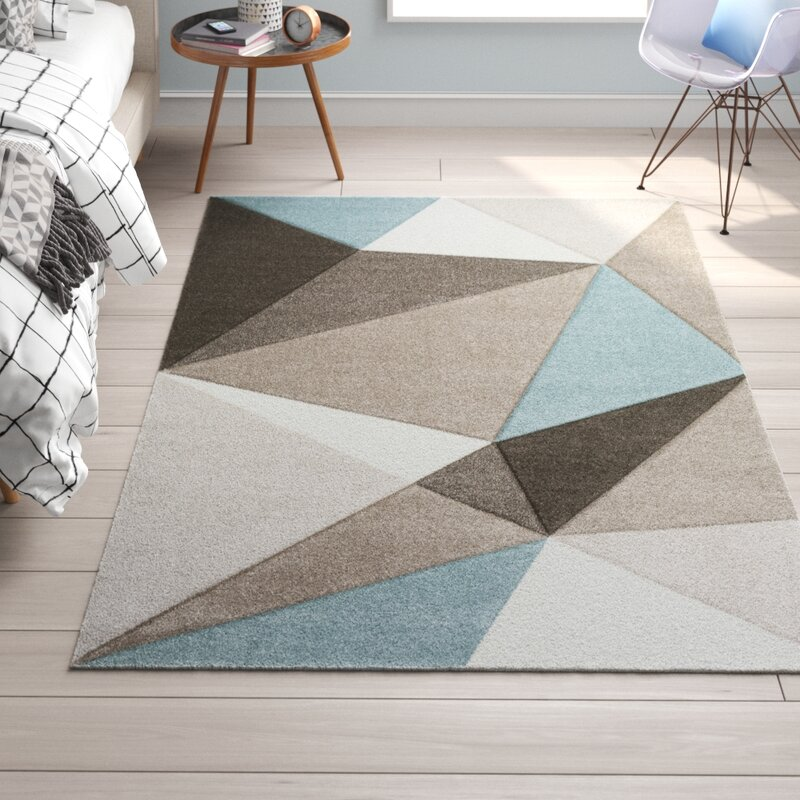 Gray Blue Brown Area Rug