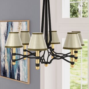 Check Prices 6 Silk Empire Candelabra Shade with Trim (Set of 6) By Mercer41