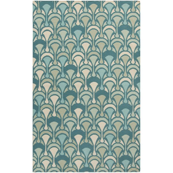 Voyages Teal Geometric Area Rug by Malene b