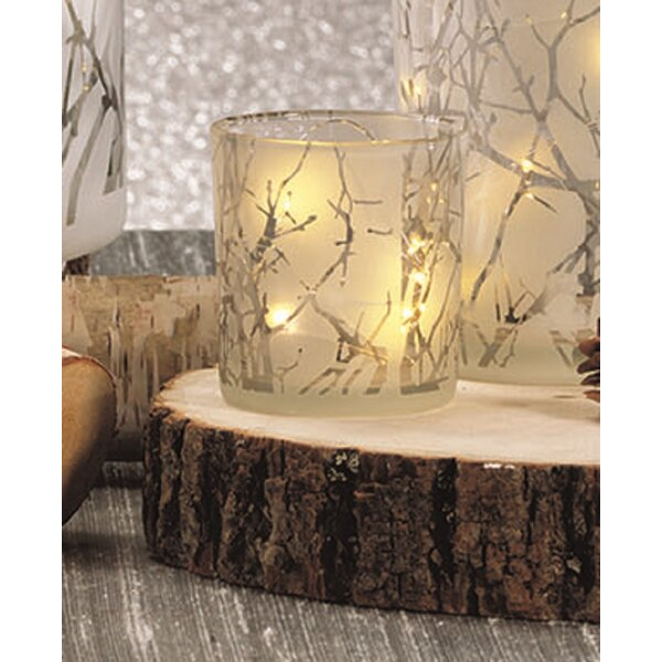 Cylindrical Branch Etched LED Glass Hurricane Set (Set of 6) by Latitude Run