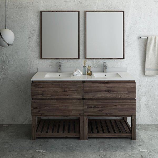 Formosa Floor Standing Open Bottom 60 Double Bathroom Vanity Set with Mirror