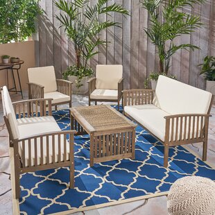 Twinsburg Outdoor 5 Piece Sofa Seating Group with Cushions By Bungalow Rose