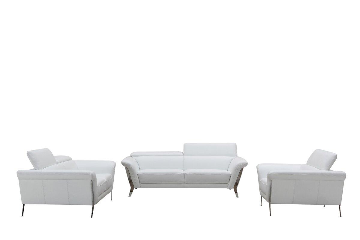 Orren Ellis Cana Leather 3 Piece Living Room Set & Reviews | Wayfair