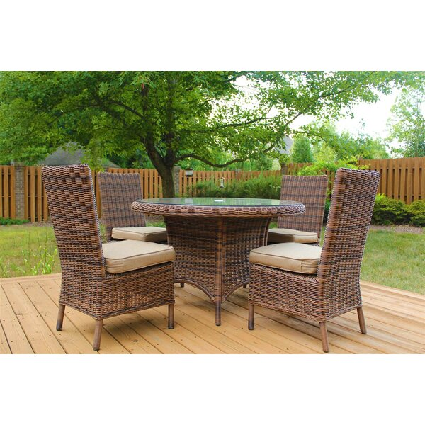 Wilkinson 5 Piece Dining Set with Cushion by Charlton Home