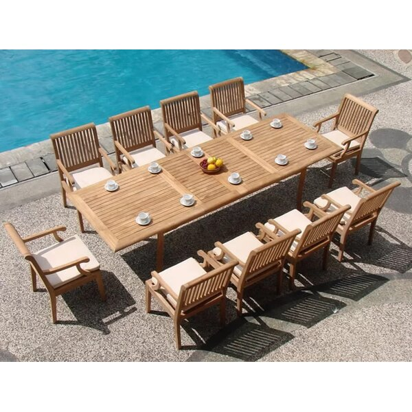 Mayna Luxurious 11 Piece Teak Dining Set by Rosecliff Heights