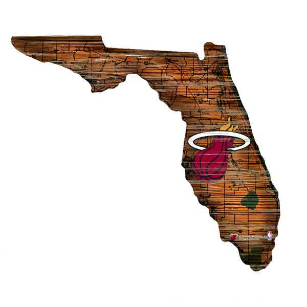 NBA Heat Distressed State Wall Décor by Fan Creations