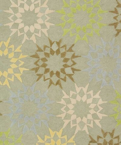 Floral Block Quilt Opal Grey Rug by Martha Stewart Rugs