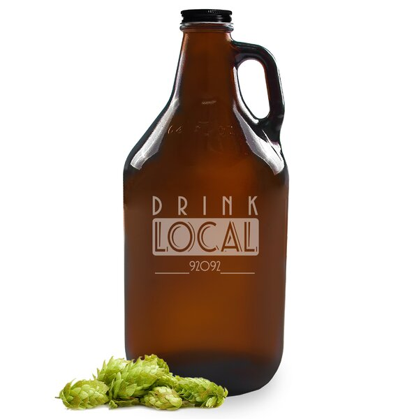 Personalized Drink Local Craft Beer Amber Growler by Cathys Concepts