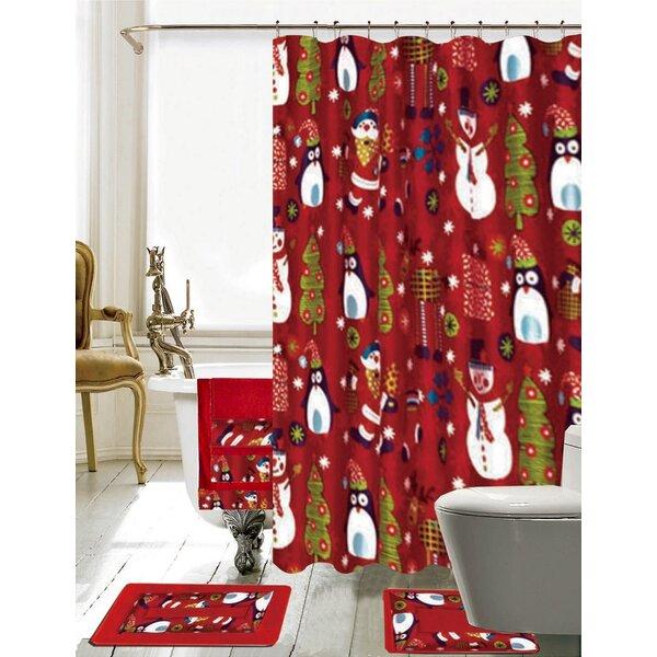 Christmas Shower Curtain.Christmas Bathroom Decor 18 Piece Red Shower Curtain Set