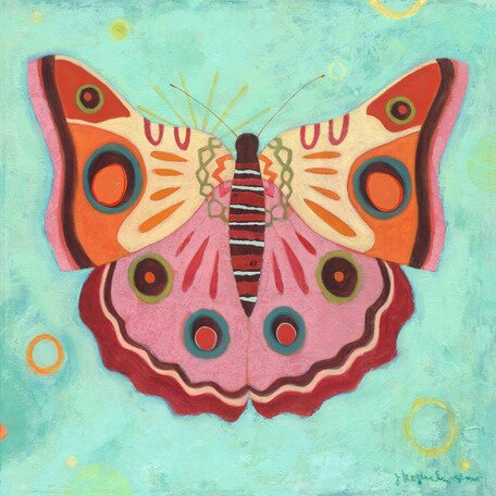 Aqua Peace Butterfly Canvas Art by Oopsy Daisy