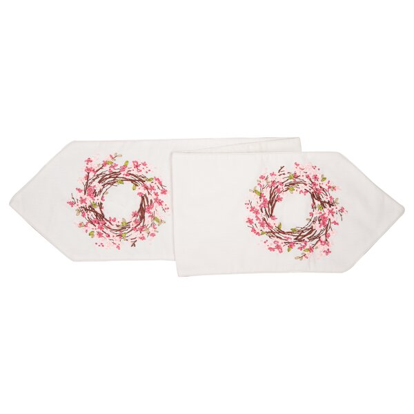 Erskine Blossom Wreath Ribbon Art Table Runner by August Grove