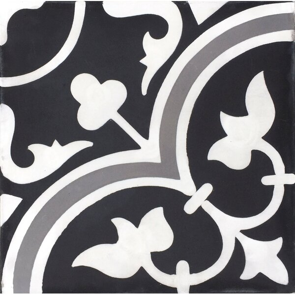MeaLu Roseton  Cement Field Tile in Black/White (Set of 4) by Rustico Tile & Stone