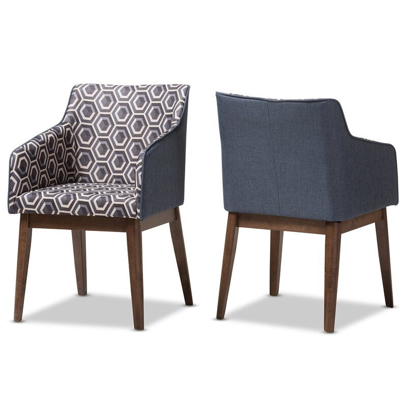 Eric Patterned Fabric Armchair (Set Of 2)