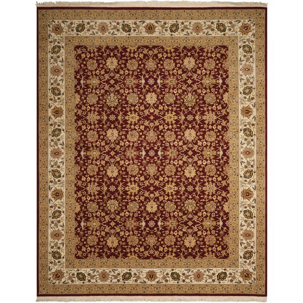 Dunluce Hand-Knotted Wool Burgundy/Beige Area Rug by Canora Grey