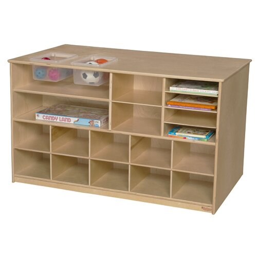 Mobile Storage Island Double Sided Cubby by Wood Designs